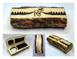 Selenite Cleansing Box with Moose Scene by manwithashadow