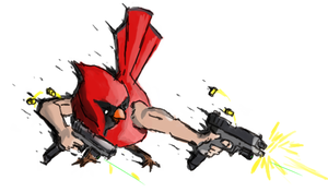 Akimbo Cardinal by Obnoxious-Canary