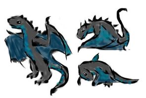 Obsidian Wyvern hatchling color by Seitira