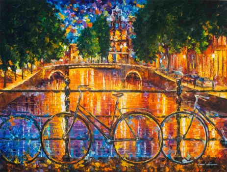 Amsterdam - The Bridge Of Bicycles by L.Afremov by Leonidafremov