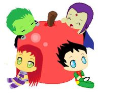 Apple Chibi Titans by unknown-artist23