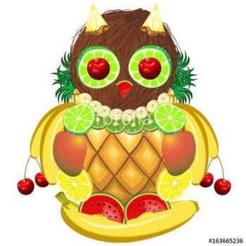 Owl Juicy Fruits  Vector Illustration by Bluedarkat