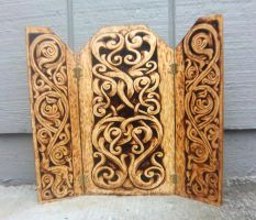 Stave designs Triptych Wood-burned by runehammer9