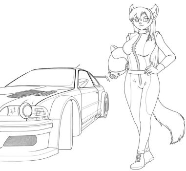 Keira racer - lineart by anthrokidnapper