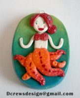 Octo-Mermaid OOAK Pendant by Skyelark