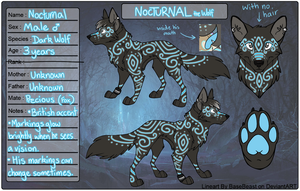 Nocturnal the Wolf - Character Sheet (2013) by WhatTheFoxBecca