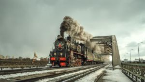 steam locomotive on the bridge by fly10