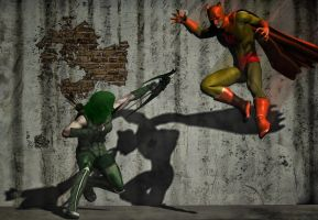 Green Arrow vs Catman by hiram67
