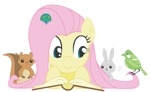 Fluttershy Reading by lemonLimeMan