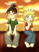 Naruto and Iruka as kids by firnantowen
