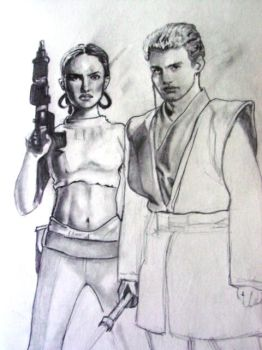 Anakin and Padme by SarangOjena