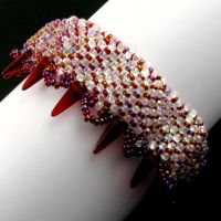 Bead loomed bracelet with spikes by CatsWire