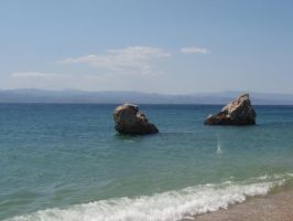 Greek Lagoon: Two Rocks by Lsr-stock