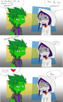 Swimsuits- Beast Boy and Raven by MESS-Anime-Artist