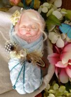 Pastel pink and blue fairy/pixie baby on ETSY by rosannasart