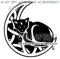 Sleeping Cat And Knotwork Moon Design by WildSpiritWolf