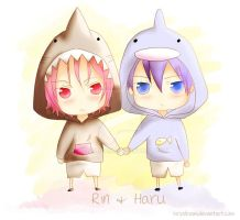 Chibi Rin X Haru by kiriodream