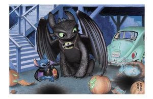 Pumpkins (Toothless and Stitch) by DenaeFrazierStudios