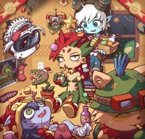 Xmas Zyra and Yordles by gramoxon