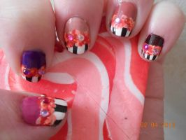 V-DAY NAILS: Pink, purple, black, white, and roses by Agathanaomi