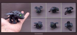 TOOTHLESS - Nightfury FANART mini sculpture SD by buzhandmade