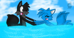 .:RQ:. Merrick teaching Misha to swim by KrystaliaProductions