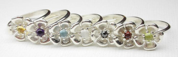 Collection of flower rings by Vansee-Jewelry