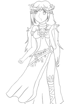 Lady Palutena Line Art by MysticalTemptress