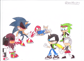 Jack,Monera & Scourge vs. Team Sonic Exe by sonic4ever760