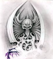 winged_skull_sketch by justburnt1