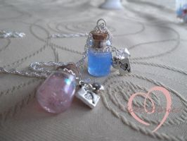 Alice inspired bottle pendants by ilikeshiniesfakery