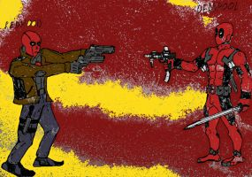 Jason Todd(RED HOOD) VS Deadpool (color) by Ghost-overlord