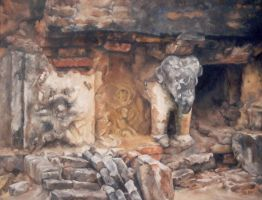 Elephant Ruins - Thailand - OIL Painting by AstridBruning