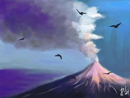 Blue Volcano by AngeInk