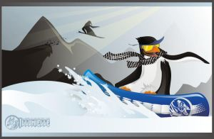 Penguin on Snowboard by Illumielle