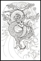 Moon dragon japanees - lineart by BettieBoner