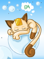 Bubbly Meowth by kittychasesquirrels