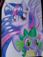Twilight and Spike by SparklySpectrum