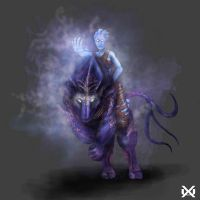 Prehistoric Asari Riding Beast - Mass Effect by XantheUnwinArt