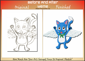 Before and After Meme: Fairy Tail - Happy by Roxyielle