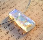 Fused Glass Ice Pendant Hypoallergenic by FusedElegance