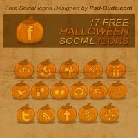 Halloween Pumpkin Social Icons by PsdDude