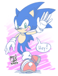 Sonic Sez: HEY! - Inked + Colored version. by RGXSuperSonic