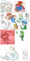 Various Mario Doodles by Pimmy