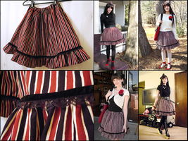 Red Black Cream Striped Skirt by emiko42