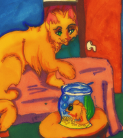 The cat and the fish bowl painted by Bacon-Paws