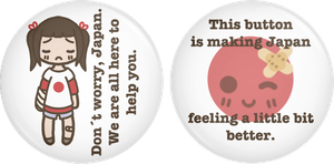 'Helping Japan' Button Set by PumpkinCoocie