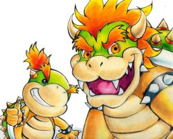 New Bowser and Bowser Jr. by Dynastid