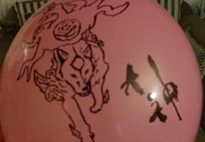 Okami decorated balloon by Artist-Who-Draws