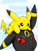 Pikachu and Umbreon by TheGreenPikachu